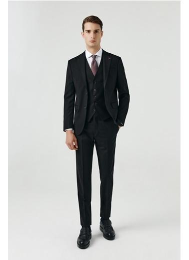 D'S Damat Slim Fit Yelekli Takım Elbise Siyah